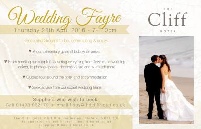 Wedding Fayre this week at Cliff Hotel, Gorleston