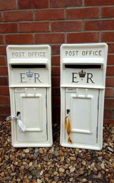 White and Ivory lockable and personalised Royal Mail Wedding Post Box for hire
