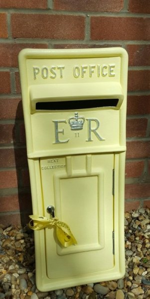 Pastel Lemon lockable and personalised Royal Mail Wedding Post Box for hire