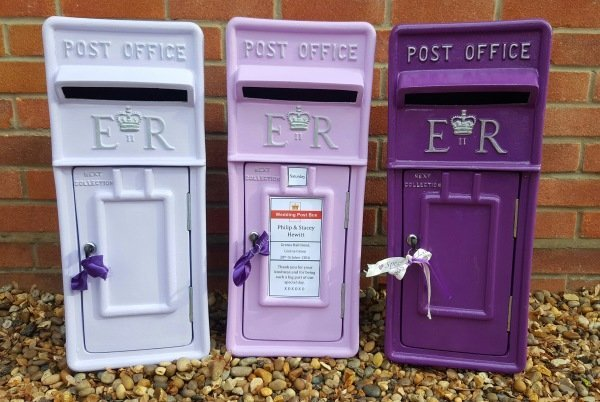 Lilac, Violet and Cadbury Purple lockable and personalised Royal Mail Wedding Post Box for hire
