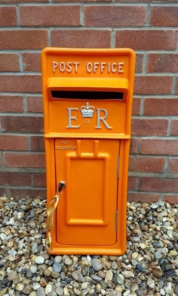 Orange lockable and personalised Royal Mail Wedding Post Box for hire