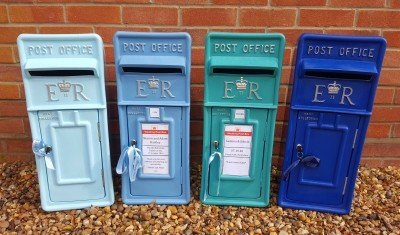 Pastel, Icy, Teal and Royal Blue Personalised and Lockable Royal Mail Wedding Post Box