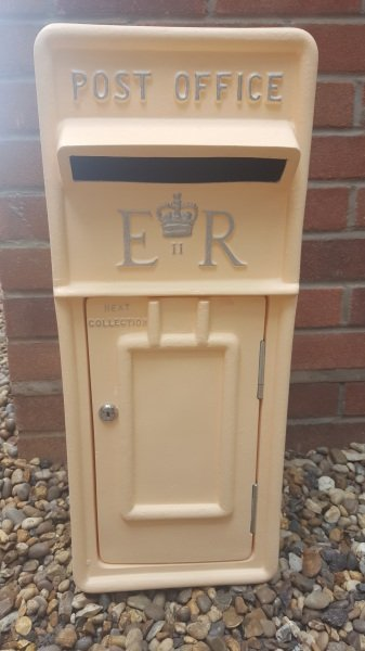 Peach lockable and personalised Royal Mail Wedding Post Box for hire