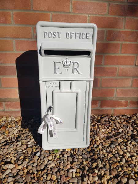 Dove Grey lockable and personalised Royal Mail Wedding Post Box for hire