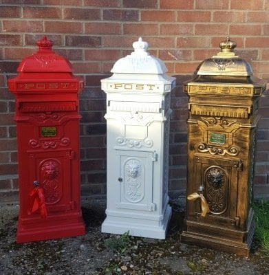 Red, White and Brushed Bronze tall pillar box for wedding or event hire