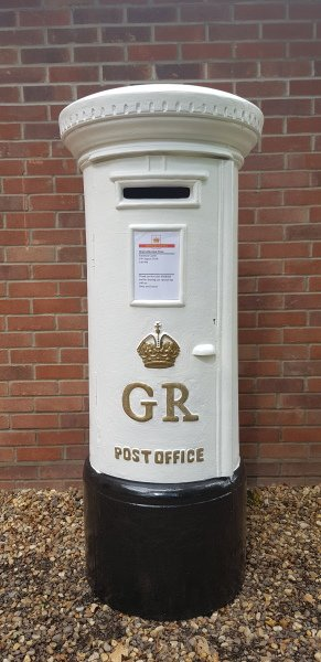 Full size large white GR Pillar Post Box hire for weddings and events