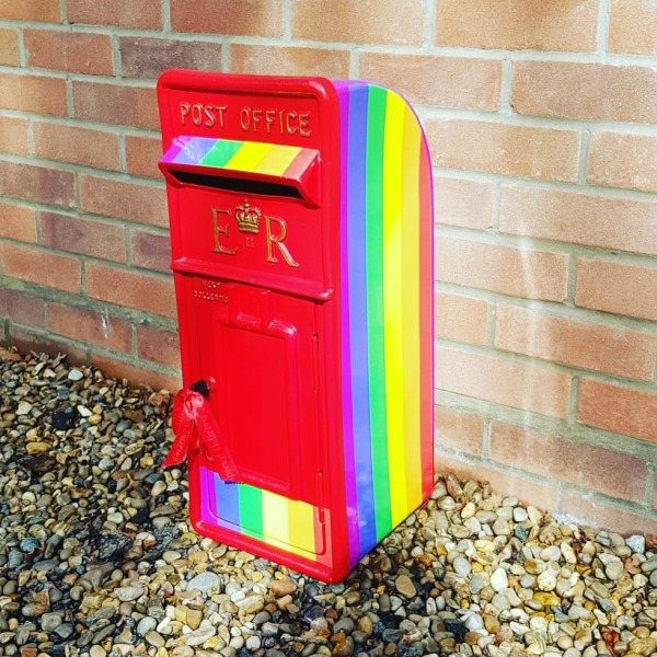 A rainbow LGBT PRIDE wedding post box for hire